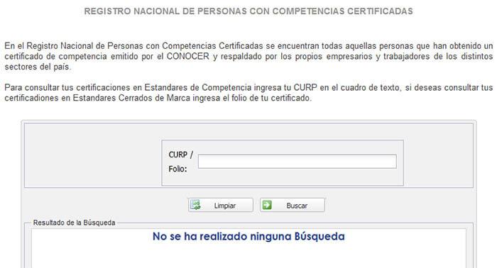 Caja de búsqueda del certificado CONOCER.
