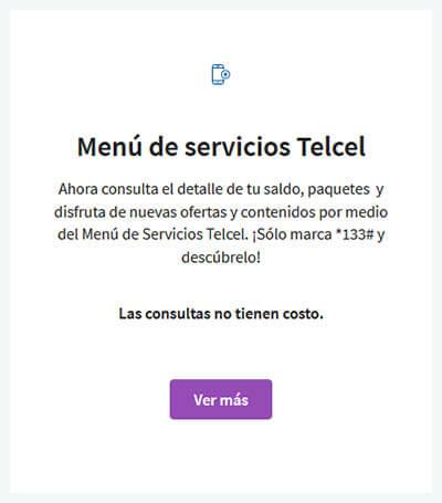 Menú de servicios Telcel