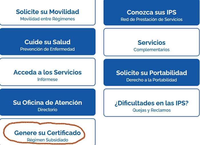Certificado Emssanar en el régimen subsidiado