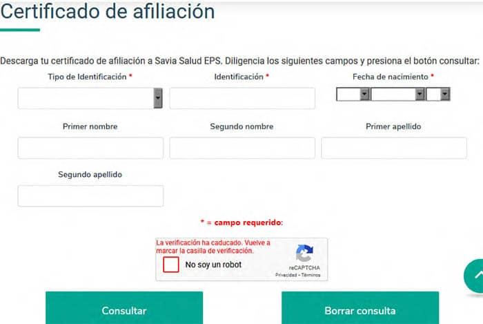 Descargar certificado de afiliación de Savia Salud