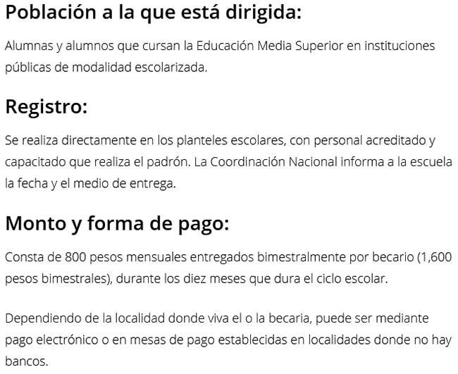 Beca universal para estudiantes de Educación Media Superior Benito Juárez