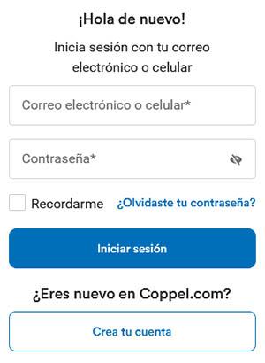 Introduce el correo electrónico y la contraseña de tu cuenta Coppel