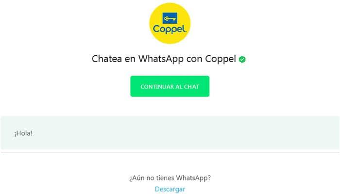 Sala de chat de Coppel en Whatsapp