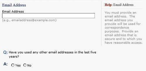 Añadir correo electrónico en el formulario DS-160
