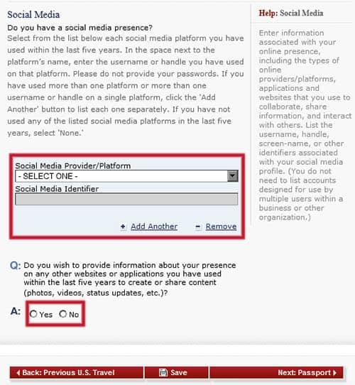 Añadir redes sociales en el formulario DS-160