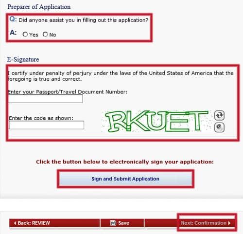 Firmar y enviar el formulario DS-160