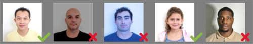 Ejemplos de fotografías válidas e inválidas para el formulario DS-160