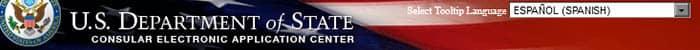 Seleccionar idioma en la web del Departamento de Estados de los Estados Unidos