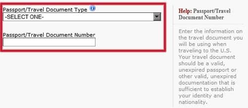 Número de pasaporte en el formulario DS-160