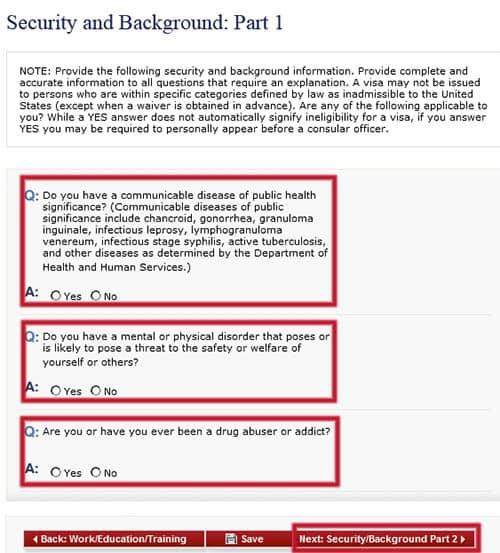 Seguridad y Antecedentes: Parte 1 en el formulario DS-160