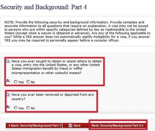 Seguridad y Antecedentes: Parte 4 en el formulario DS-160