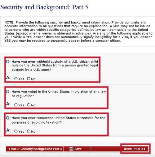 Seguridad y Antecedentes: Parte 5 en el formulario DS-160