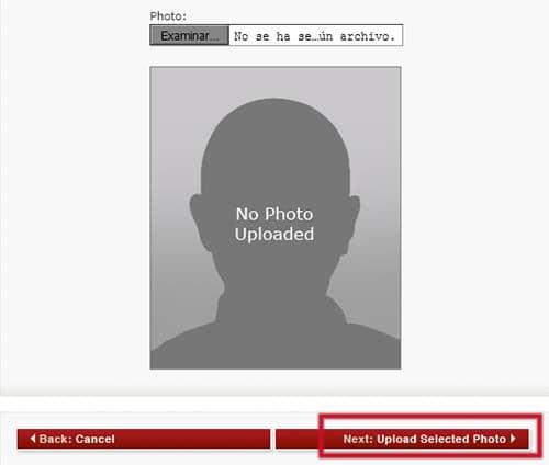Examinar foto digital en el formulario DS-160