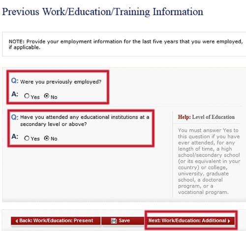 Trabajos anteriores en el formulario DS-160