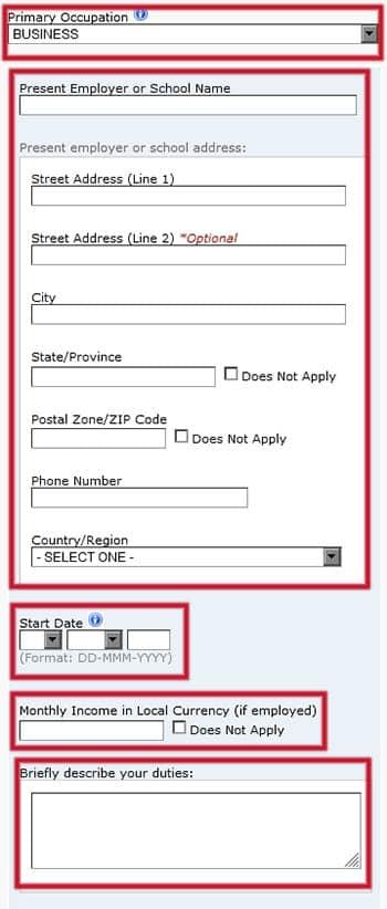 Datos del trabajo en el formulario DS-160
