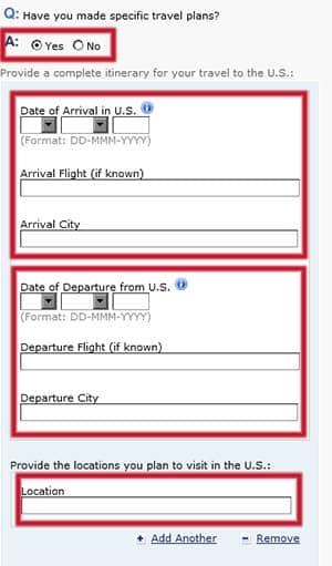 Planes específicos del viaje en el formulario DS-160