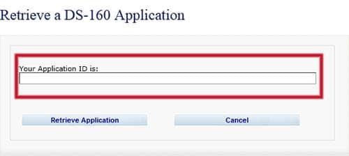Recuperar formulario DS-160
