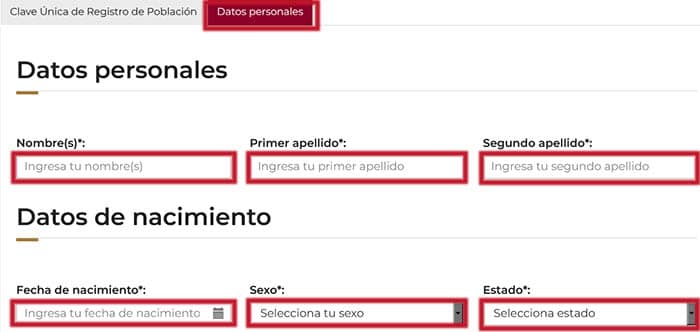 Introduce datos personales