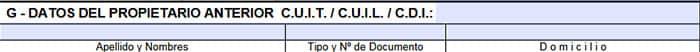 Rubro G del formulario 1057