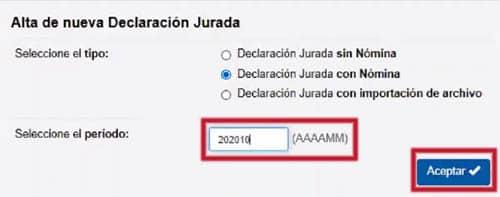 Alta y periodo en el formulario 931