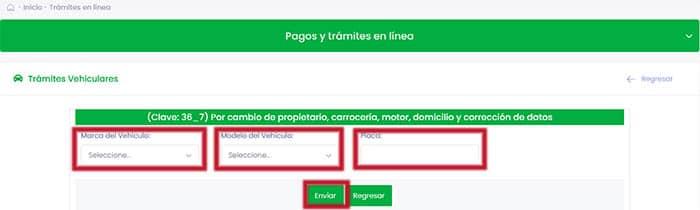 Imprimir tu línea de captura con la clave 36_7 para el cambio de propietario de vehículo