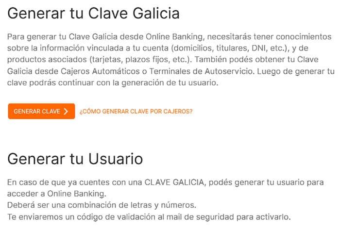Generá tu clave Banco Galicia