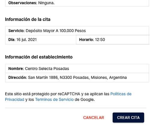 Revisa la información para sacar turno en Banco Macro