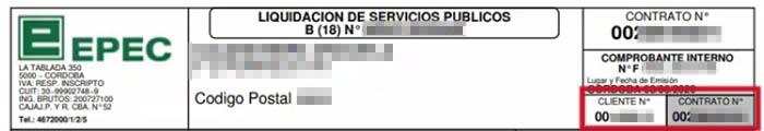 Número de cliente y número de contrato en la factura EPEC