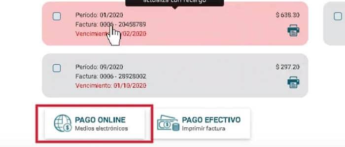 Pago online de la factura EPEC