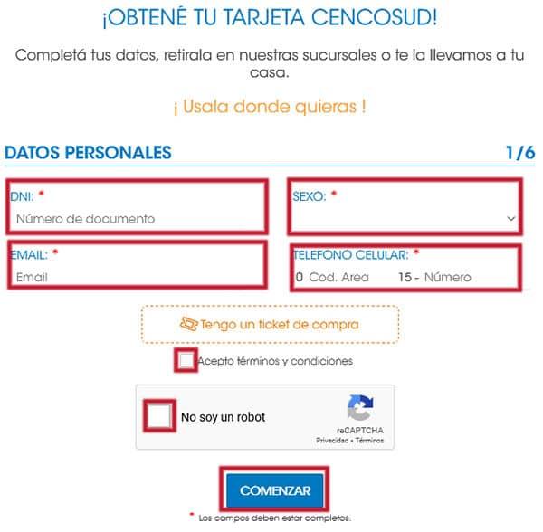 Web de registro de Cencosud