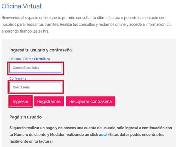 Ingresar en la oficina virtual de Edesur