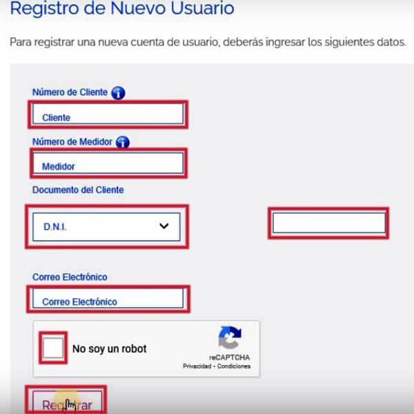 Registro de nuevo usuario en Edesur