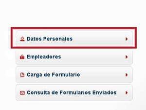 Datos Personales en el formulario 572